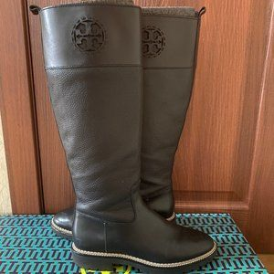 Tory Burch Black Leather Miller lug-sole boot 7.5M